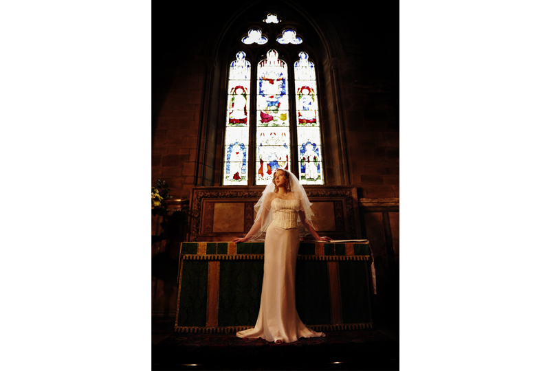 bride in church window